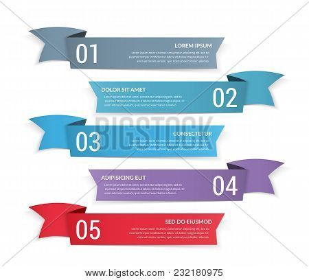 5 Banners With Numbers And Place For Your Text, Vector Eps10 Illustration