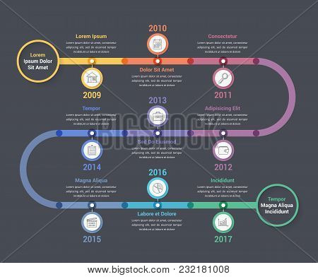 Timeline Infographics Template With Colorful Circles, Workflow Or Process Diagram, Vector Eps10 Illu