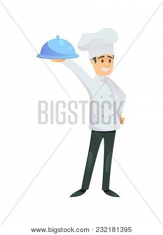 Cheerful Cook Standing With Metal Tray Covered With Cap On White Background.