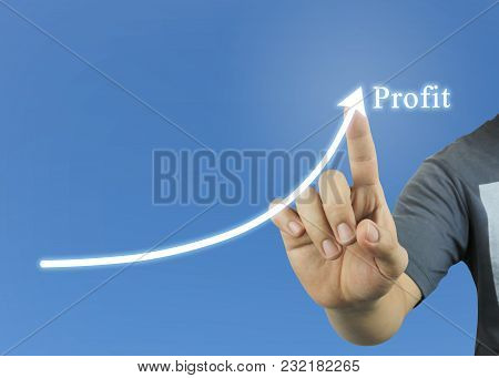 New Generation Of Businessmen Points To The Concept Of Profitability Idea And Have Copy Space For De