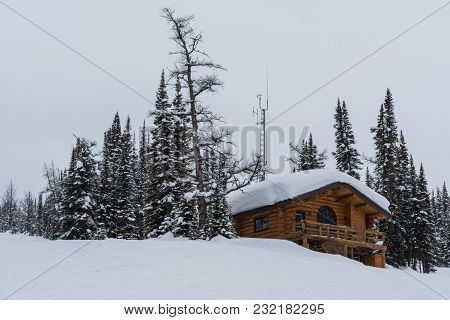 Cabin In The Snow At Sunshine Village Ski Resort In The Rocky Mountains Of Banff National Park Canad