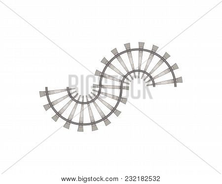 Flat Vector Of Curved Fragment For Constructing Railroad Isolated On White.