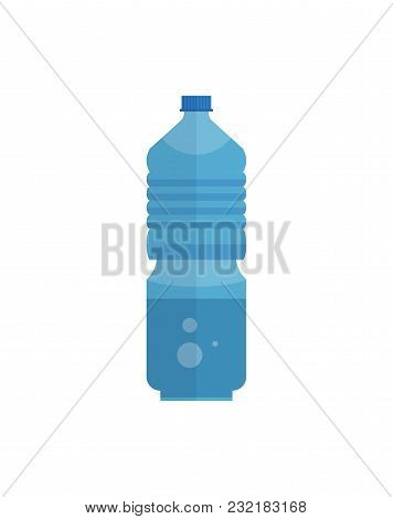 Blue Plastic Bottle Of Clean Mineral Soda Water On White Background.