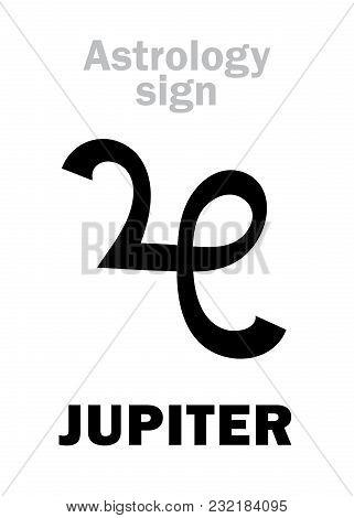 Astrology Alphabet: Jupiter (iuppiter), Classic Major Planet. Hieroglyphics Character Sign (medieval