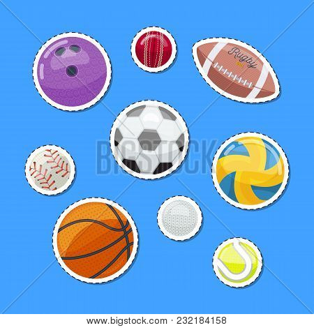 Iconic Set With Assorted Balls For Sportive Games On Blue.