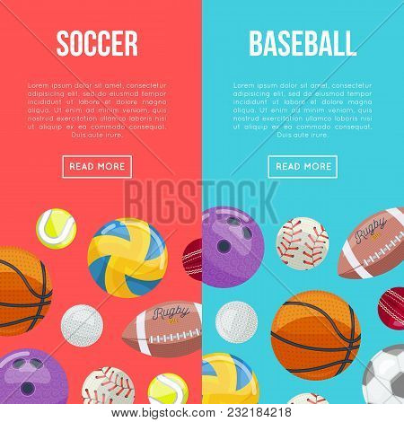 Creative Layout Of Colorful Webpage Design Telling About Soccer And Baseball.