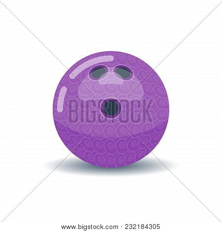Purple Colored Ball For Bowling With Pattern On White Background.
