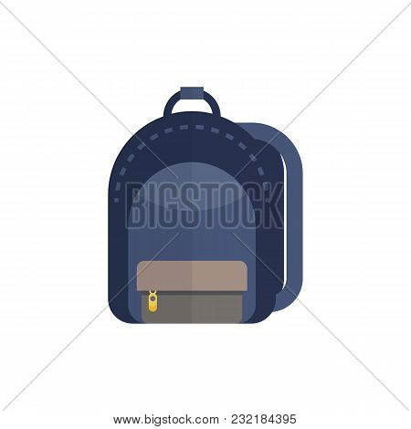 Blue Colored School Backpack Isolated On White.