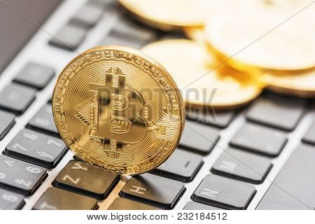 Gold Coins Crypto Currency  Bitcoin And Keyboard