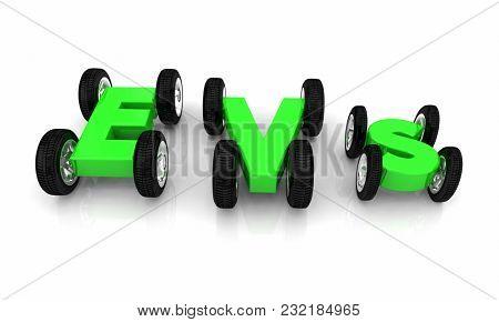 EVs Electric Vehicles Wheels Cars Letters 3d Illustration
