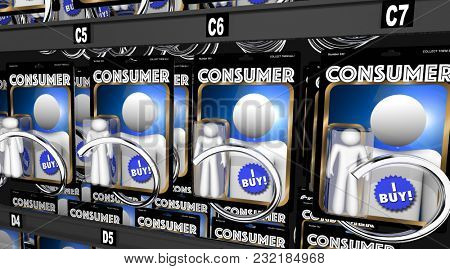 Consumers Customers Shoppers Purchasers 3d Illustration