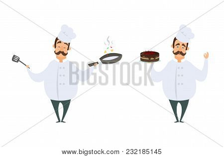Funny Characters Of Chef In Action Poses. Vector Illustrations In Cartoon Style. Chef Cartoon Cookin