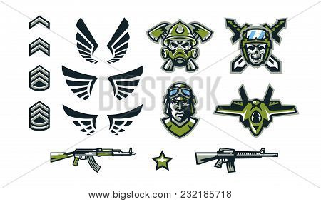 A Set Of Military Signs, Emblems, Logos. Soldiers' Insignia, Wings, Assault Rifles, A Skull In A Hel