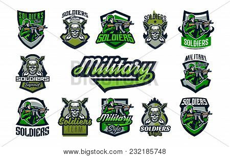 A Collection Of Emblems, Badges On A Military Theme. A Skull In A Helmet Against The Background Of S