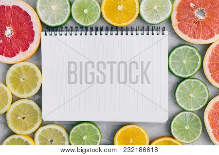 Top View Notebook Sliced Citrus Fruit Flat Lay Summer Background