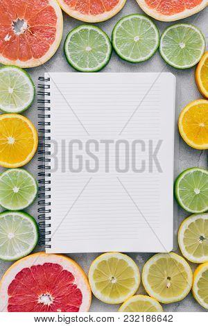 Top View Flat Lay Notebook Sliced Citrus Fruit Summer Background