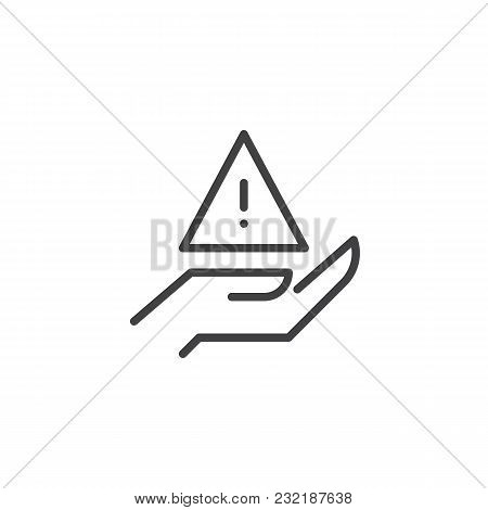Hand With Attention Exclamation Mark Outline Icon. Linear Style Sign For Mobile Concept And Web Desi