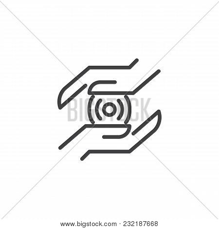 Hands With Wireless Connection Spot Outline Icon. Linear Style Sign For Mobile Concept And Web Desig