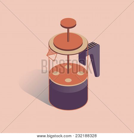 Vector Illustration With 3d Coffee Pot French Press. Coffee Maker In Isometric Flat Style On Pink Ba