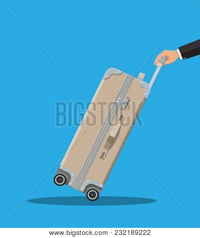 Travel Bag In Hand. Plastic Case. Trolley On Wheels. Travel Baggage And Luggage. Vector Illustration