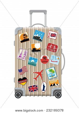 Silver Travel Bag. Plastic Case With Stickers. Trolley On Wheels. Labels Of Countrys And Citys All O