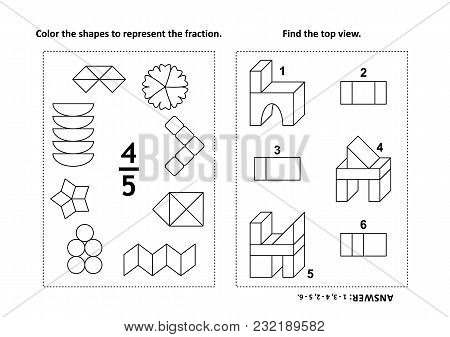Two Visual Math Puzzles And Coloring Pages. Color The Shapes To Represent The Fraction. Find The Top