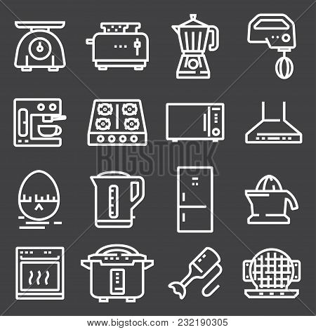 Simple Set Of Kitchen Appliances Related Vector Line Icons. Contains Such Icons As Meat Grinder, Boi