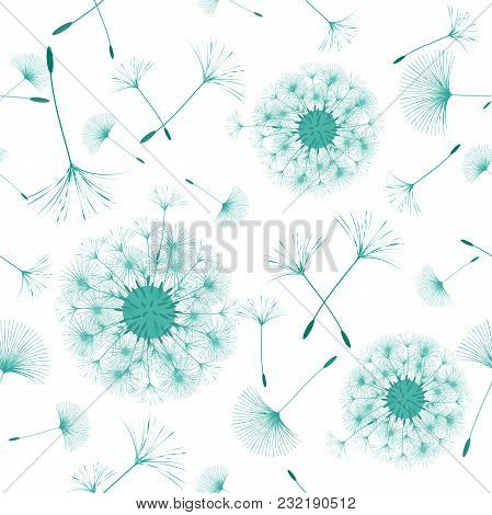 Seamless Background From A Dandelion. Flight Of A Dandelion, Seeds Fly From The Wind. Light, Pleasan