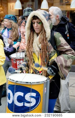 London, United Kingdom, 17th March 2018:- Drummers Play At The Stand Up To Racism March Through Cent