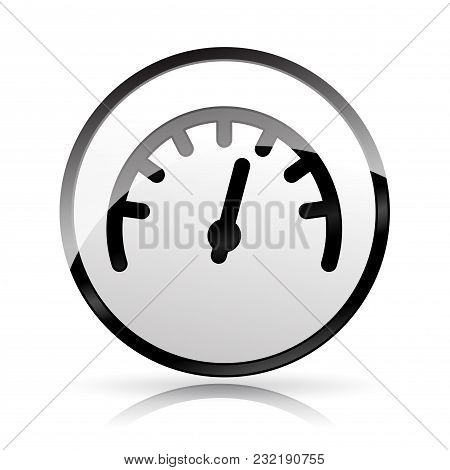 Illustration Of Speedometer Icon On White Background