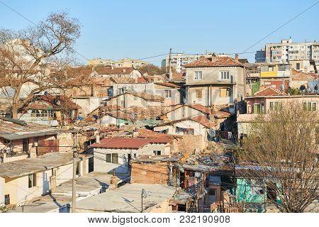 Varna, Bulgaria, March 31, 2016: Gypsy Slum, Town City Urban Settlement, Poverty, Garbage Or Junkyar