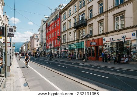 Innsbruck, Austria - August 9, 2017: Commercial Street In Historic Centre With Bicycles On Road