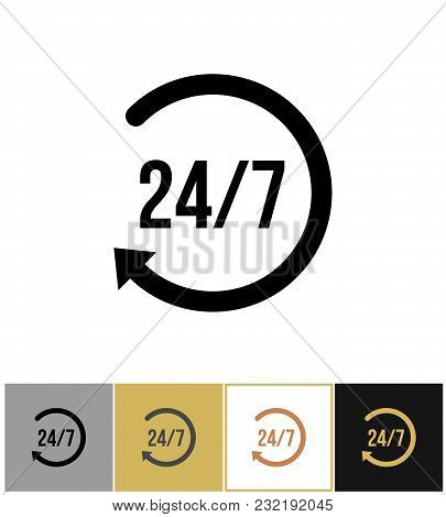 Always Open Icon, Steady Anytime Work Pictogram On Gold, Black And White Backgrounds Vector Illustra