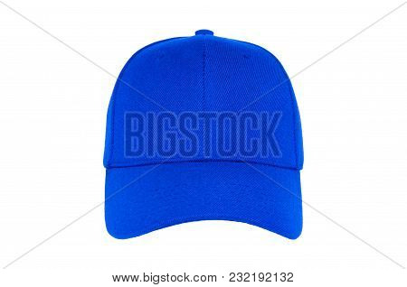 Baseball Cap Color Blue Close-up Of Front View On White Background