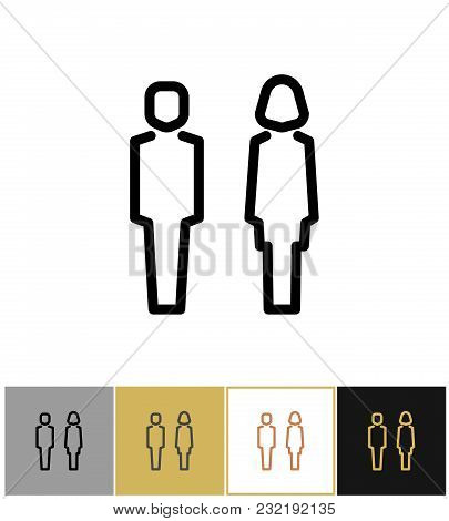 Man And Woman Icon Of Set, Boy And Girls Bathroom Symbols On Gold, Black And White Backgrounds Vecto