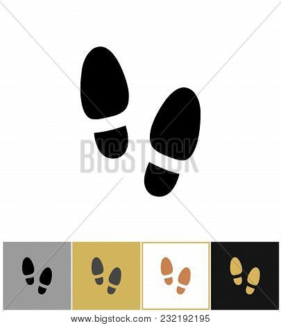 Shoe Step Print Icon, Shoes Footstep Sign Or Shoeprint Symbol On Gold, Black And White Backgrounds V