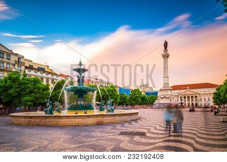 Lisbon, Portugal at Rossio Square.