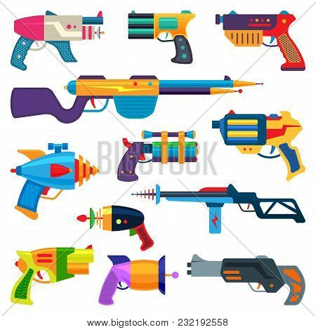 Cartoon Gun Vector Toy Blaster For Kids Game With Handgun And Raygun Of Aliens In Space Illustration