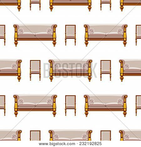 Vip Vintage Interior Furniture Rich Wealthy House Chair Room With Sofa Couch Seat Vector Illustratio