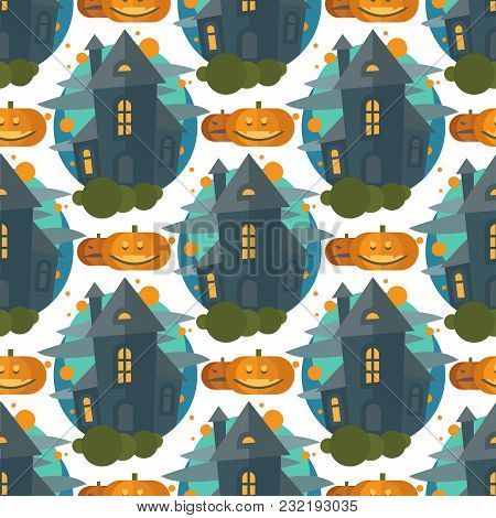 Cartoon Fairy Tale Castle Key-stone Palace Tower Seamless Pattern Scarry Knight Medieval Architectur
