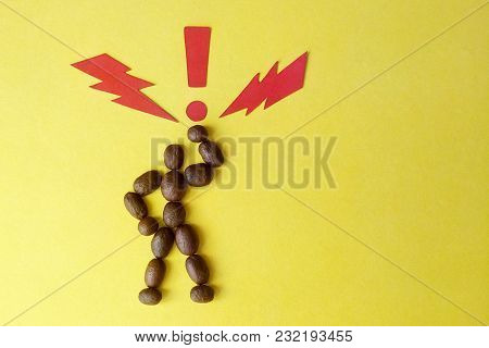 Image Of A Coffee Bean Man On Yellow Background Paper Signs Lightning Bolt And Exclamation Point Sym