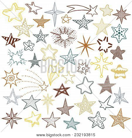 Hand Drawn Doodle Stars And Comets Icons Collection. Colorful Kids Style Skethes. Vector Illustratio