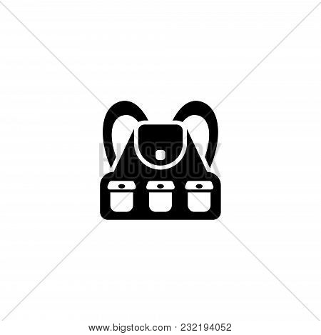 Tourist Hiking Backpack. Flat Vector Icon. Simple Black Symbol On White Background