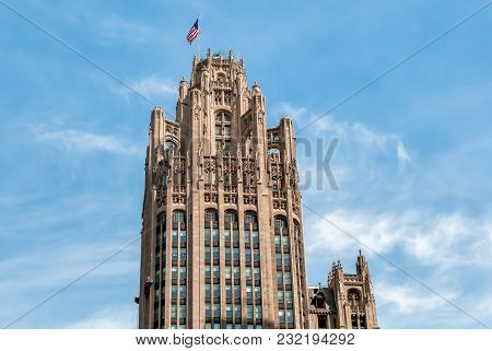 View Of Tribune Tower In Chicago Downtown, Illinois, United States.