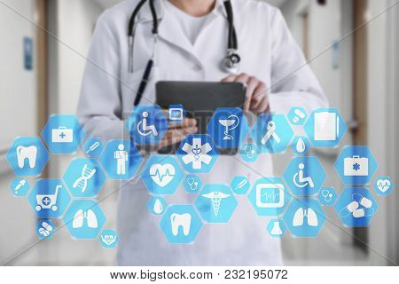 Medical Network Connection On The Virtual Touch Screen And Doctor With Stethoscope In Hospital Backg