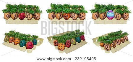 Easter Egg Painted In A Funny Smiley  Face And Colorful Patterns With Cress Like Hair In A Cardboard