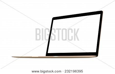 Laptop Computer Gold Mock Up - 34 Right Perspective View. Vector Illustration