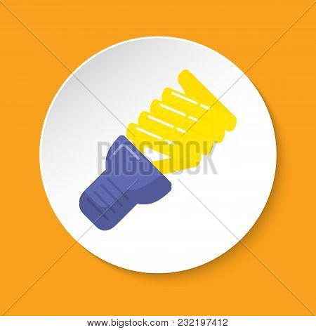 Energy Saving Light Bulb Icon In Flat Style On Round Button. Spiral Lamp Linear Symbol Isolated On W