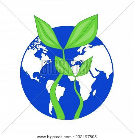 Blue Globe Planet Earth With Growing Green Leaves Plant - Symbol Of Earth Day Or Ecology Enviromenta