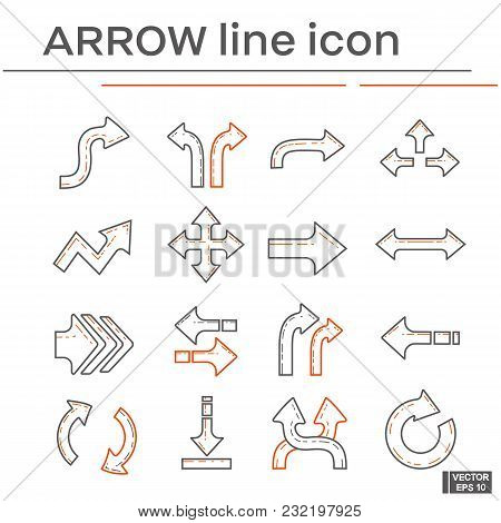 Vector Image. Set Of Line Icons On The Theme Of Arrow. Black And Red Outline Sign.
